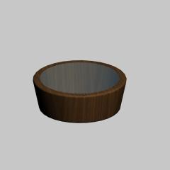 日式圆形玻璃实木餐桌