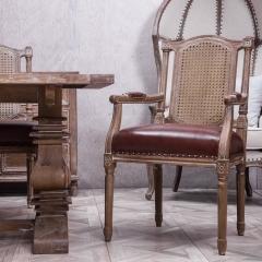 美式乡村实木藤网背橡木餐椅