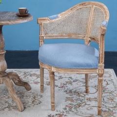 美式乡村藤背实木脚餐椅